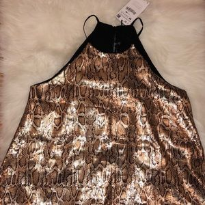 NWT Zara snake print top with sequins